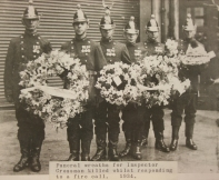 Funeral wreaths for Inspector Crossman killed whilst responding to a fire call 1934 (Photo from Bristol Records Office)